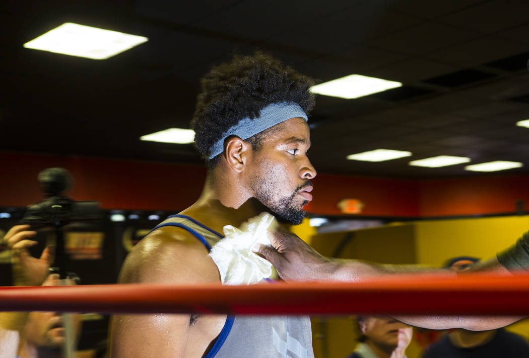 Boxer Shawn Porter pauses during a workout at Porter Hy-Performance Center in Las Vegas on Wednesday, Aug. 15, 2018. Chase Stevens Las Vegas Review-Journal @csstevensphoto