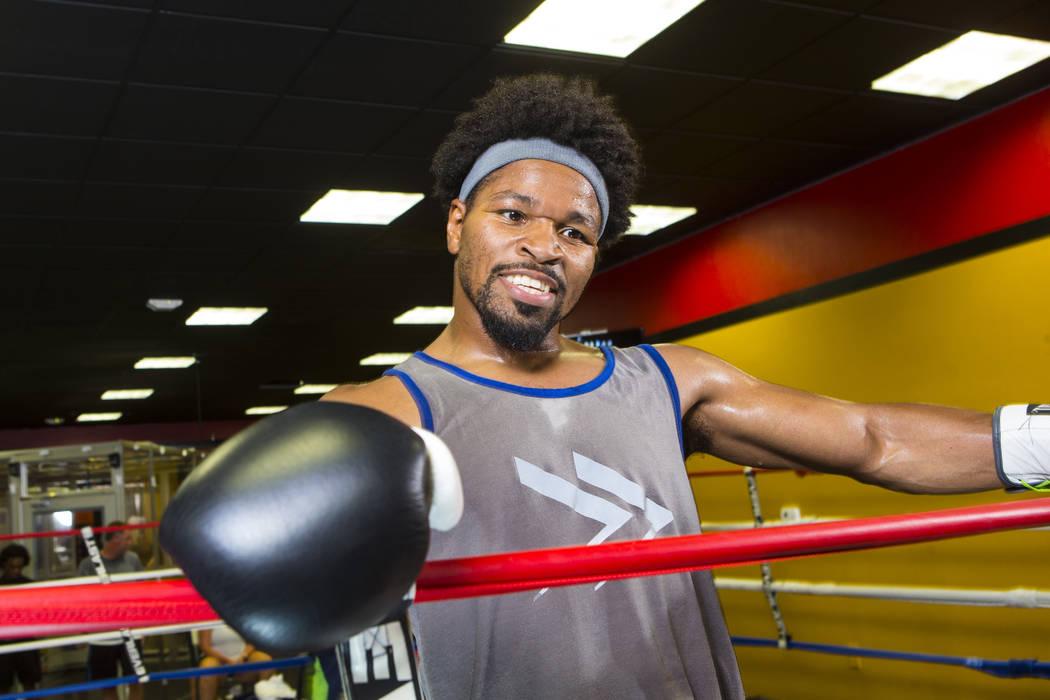 Boxer Shawn Porter takes a break during his workout at Porter Hy-Performance Center in Las Vegas on Wednesday, Aug. 15, 2018. Chase Stevens Las Vegas Review-Journal @csstevensphoto