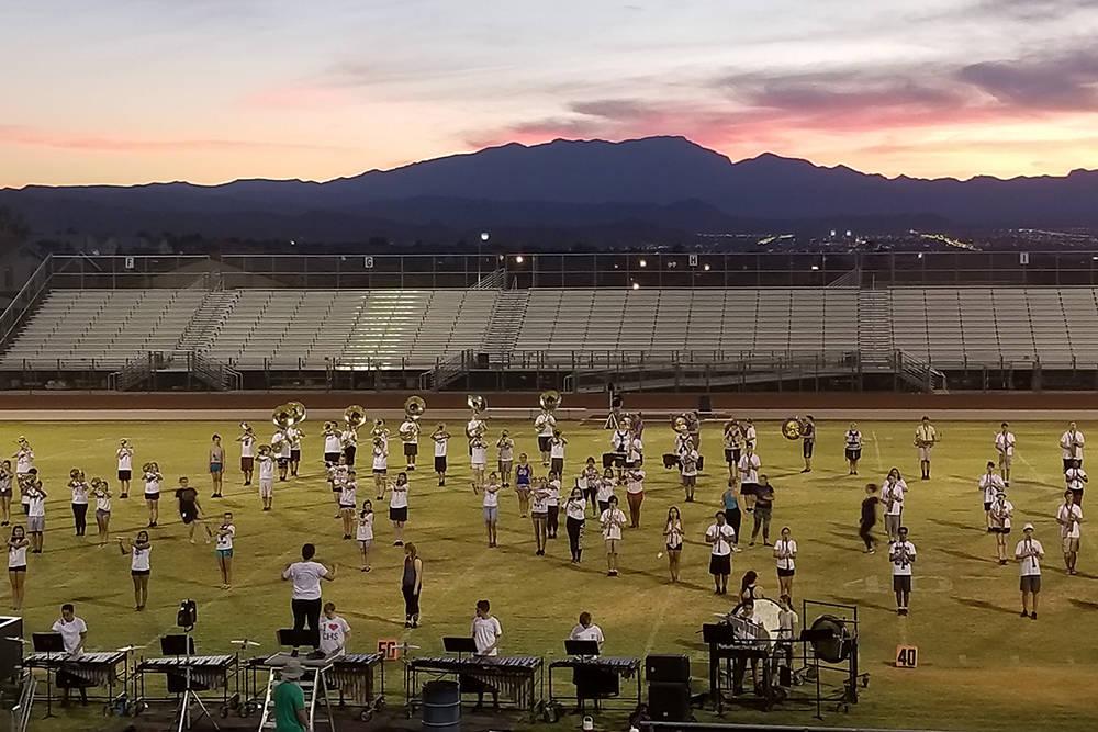 Coronado High School's marching band practices on the football field Tuesday, Aug. 28, 2018. (Natalie Burt)