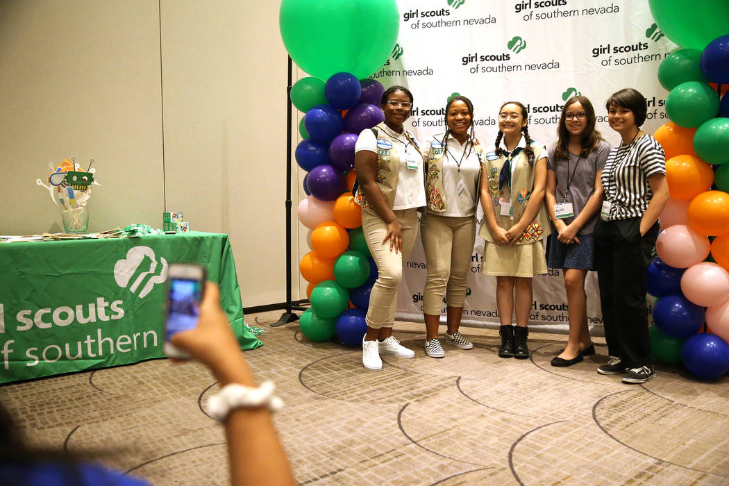 Tatiana Rush, from left, 14, her twin sister Talayeh, Athena Morales, 14, Alice West, 11, and her sister Liliana, 14, attend the Girls Scouts of Southern Nevada Steam Career Conference at the Rena ...