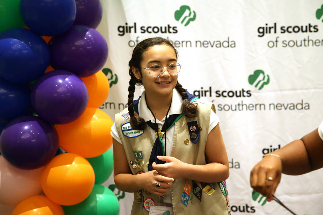 Athena Morales, 14, attends the Girls Scouts of Southern Nevada Steam Career Conference at the Renaissance Hotel in Las Vegas, Saturday, Aug. 25, 2018. Erik Verduzco Las Vegas Review-Journal @Erik ...
