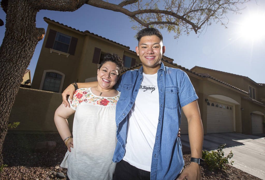 Eighteen-year-old Dylan Sanglay with his mother, Lisa, outside their Sunrise Manor home in Las Vegas on Sunday, August 26, 2018. Richard Brian Las Vegas Review-Journal @vegasphotograph