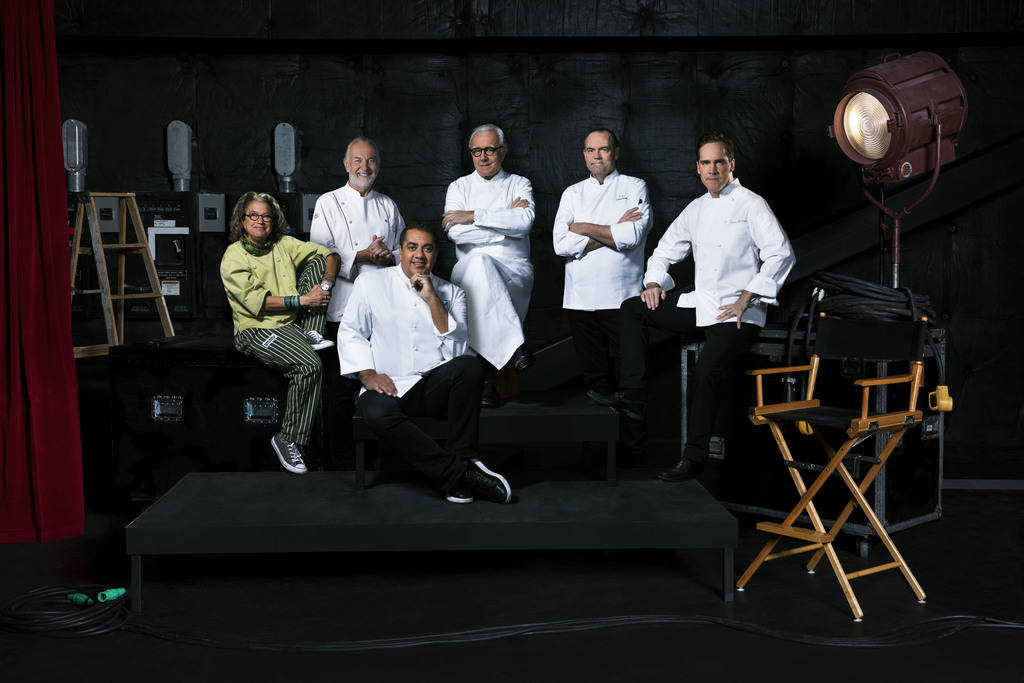 From left, chefs Susan Feniger, Hubert Keller, Michael Mina (seated in front), Alain Ducasse, Charlie Palmer and Shawn McClain. The six chefs, along with Akira Back, will take part in The Chef's T ...