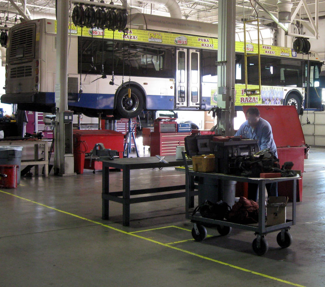 Commuter buses are serviced at the Regional Transportation Commission of Southern Nevada's Integrated Bus Maintenance Facility in North Las Vegas in 2011. (Las Vegas Review-Journal)