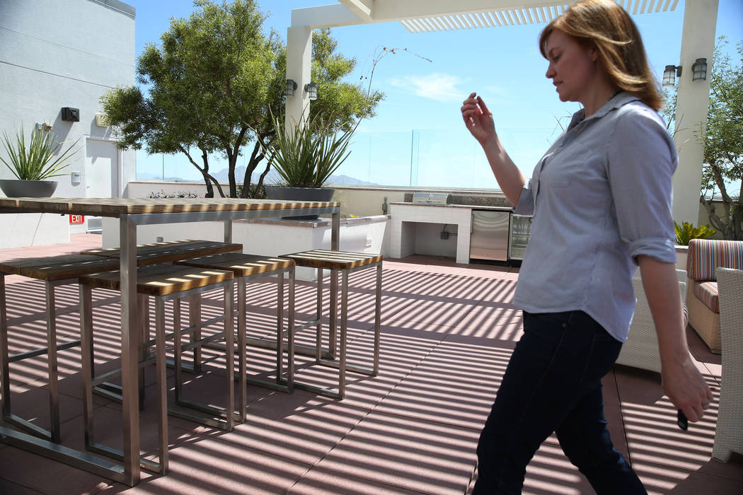 Kerry Gerst, a home owner at the Ogden, is opposed to short-term rentals in her apartment building, gives a tour of the Ogden in Las Vegas, Friday, Aug. 24, 2018. Erik Verduzco Las Vegas Review-Jo ...