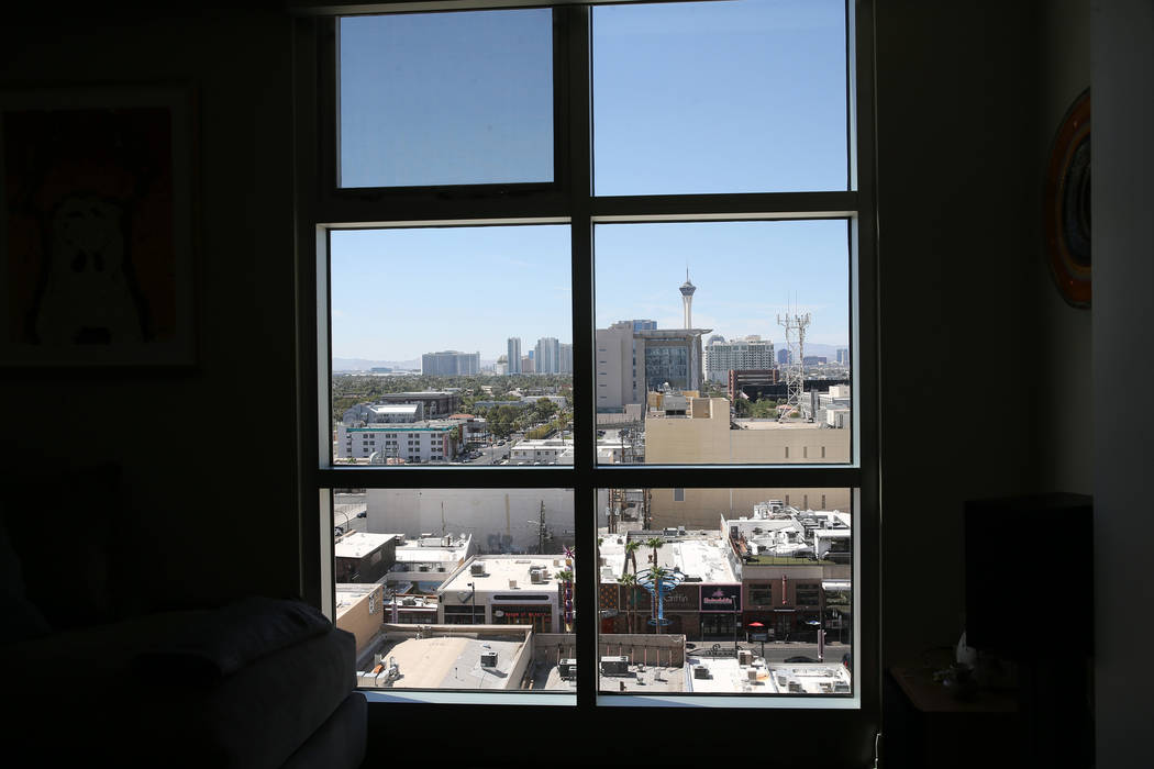 The view from the home of Kerry Gerst who lives at the Ogden in Las Vegas, Friday, Aug. 24, 2018. Erik Verduzco Las Vegas Review-Journal @Erik_Verduzco