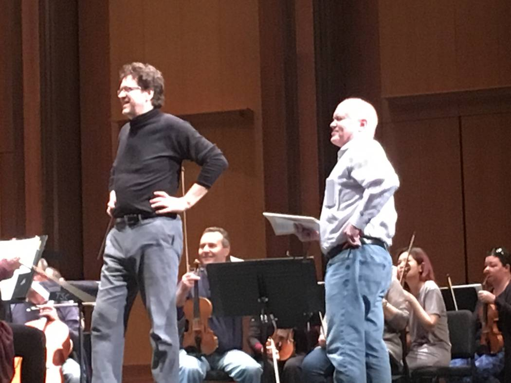 "Las Vegas Philharmonic music director Donato Cabrera welcomes composer Michael Torke to a rehearsal of Torke's ""Ash"" at The Smith Center."