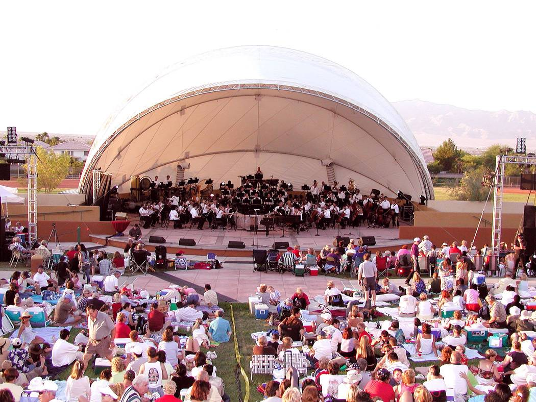 "The Las Vegas Philharmonic tunes up their instruments for the sea of guests, during the annual July 4th ""A Star-Spangled Spectacular"" party in Summerlin."