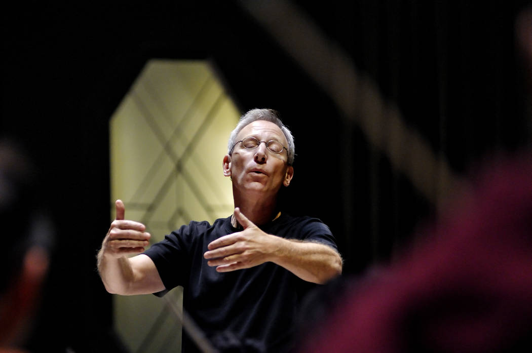 Conductor and music director David Itkin leads the Las Vegas Philharmonic in a rehearsal at the Troesh Studio Theater in the Smith Center for the Performing Arts at 361 Symphony Park Ave., in Las ...