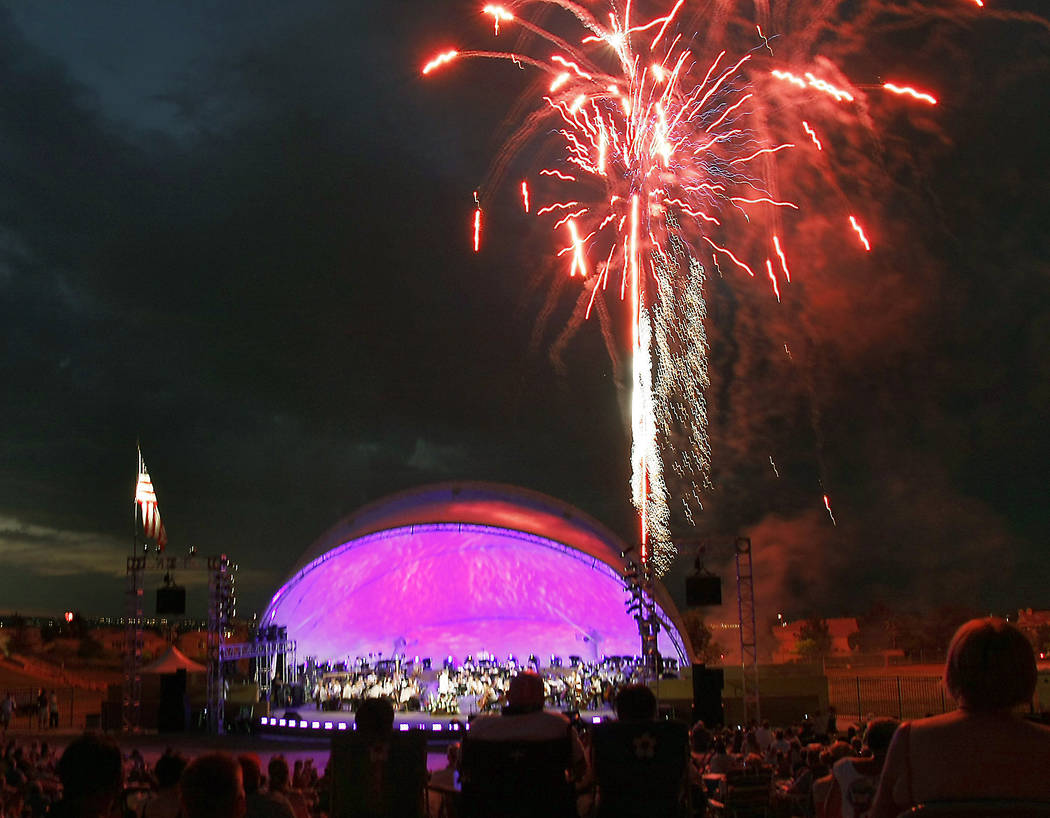 SM-FOURTHOFJULY-JUL15-- As the sun set over Lone Mountain, fireworks lit the sky as part of the 4th of July celebration with the Las Vegas Philharmonic at Hills Park, 9000 Hillpointe Road. 07/04/0 ...