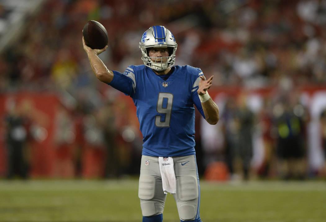 2952ccfb8 Detroit Lions quarterback Matthew Stafford (9) during the first half of an  NFL preseason