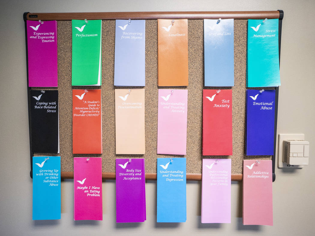 Mental health brochures photographed at the Student Recreation and Wellness Center in Las Vegas, Monday, Aug. 27, 2018. The wellness center added eight staff members to its mental health services ...