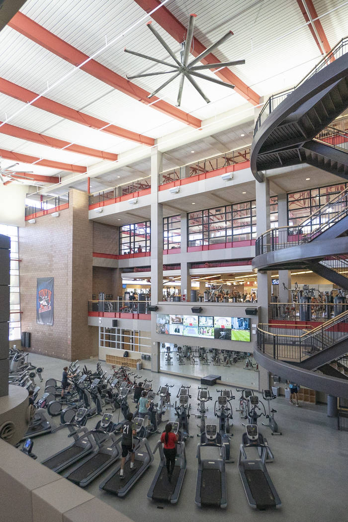 A view of the UNLV Student Recreation and Wellness Center in Las Vegas, Monday, Aug. 27, 2018. The wellness center added eight staff members to its mental health services after students lobbied fo ...