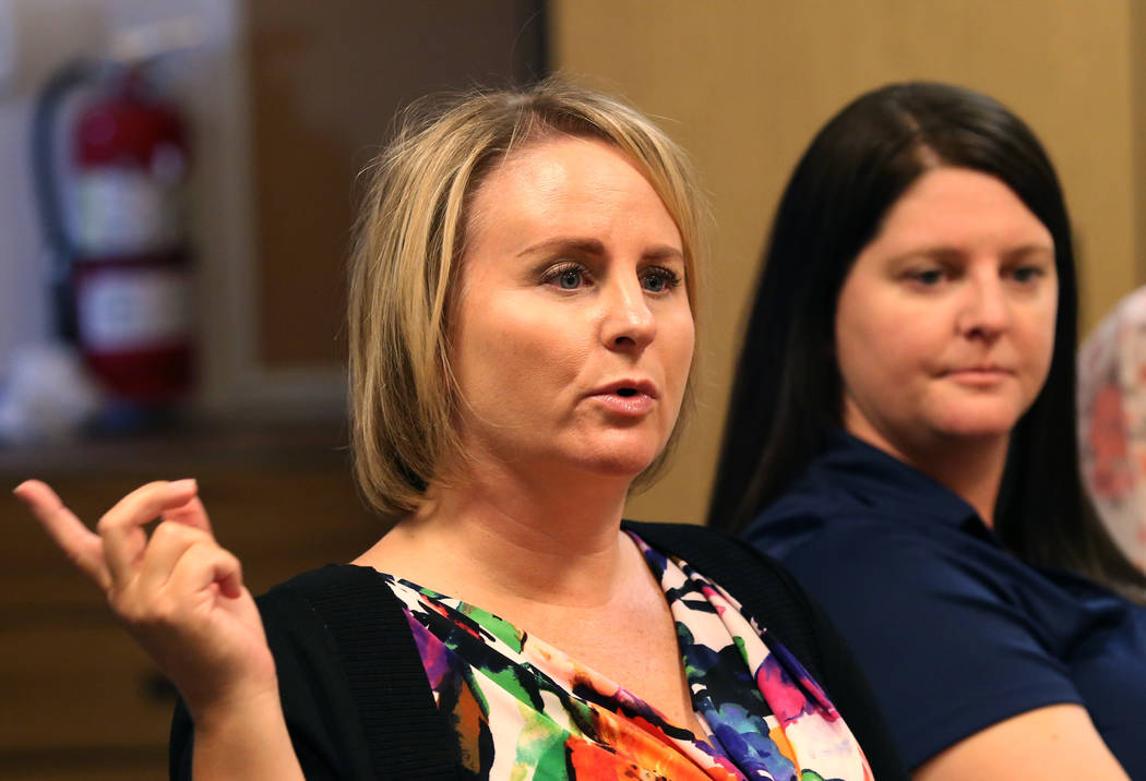 Kimberly Basham, left, Robert Taylor Elementary School principal, speaks as Meghan Vargo, site coordinator at Communities In Schools, looks on during an interview with the Las Vegas Review-Journal ...