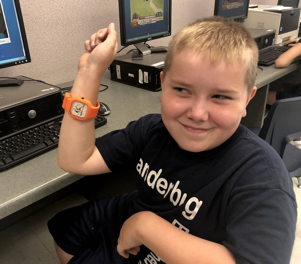 "Seven-year-old Dylan Chalmers, a second-grade student with cerebral palsy, was recently named an Apex Fun Run ""strong kid. Dylan received his award, which included an Apex watch, at Vanderbur ..."