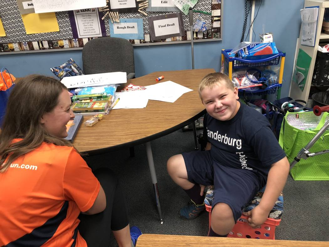 "Seven-year-old Dylan Chalmers, a second-grade student with cerebral palsy, was recently named an Apex Fun Run ""strong kid. Dylan received his award at Vanderburg Elementary School in Henderso ..."