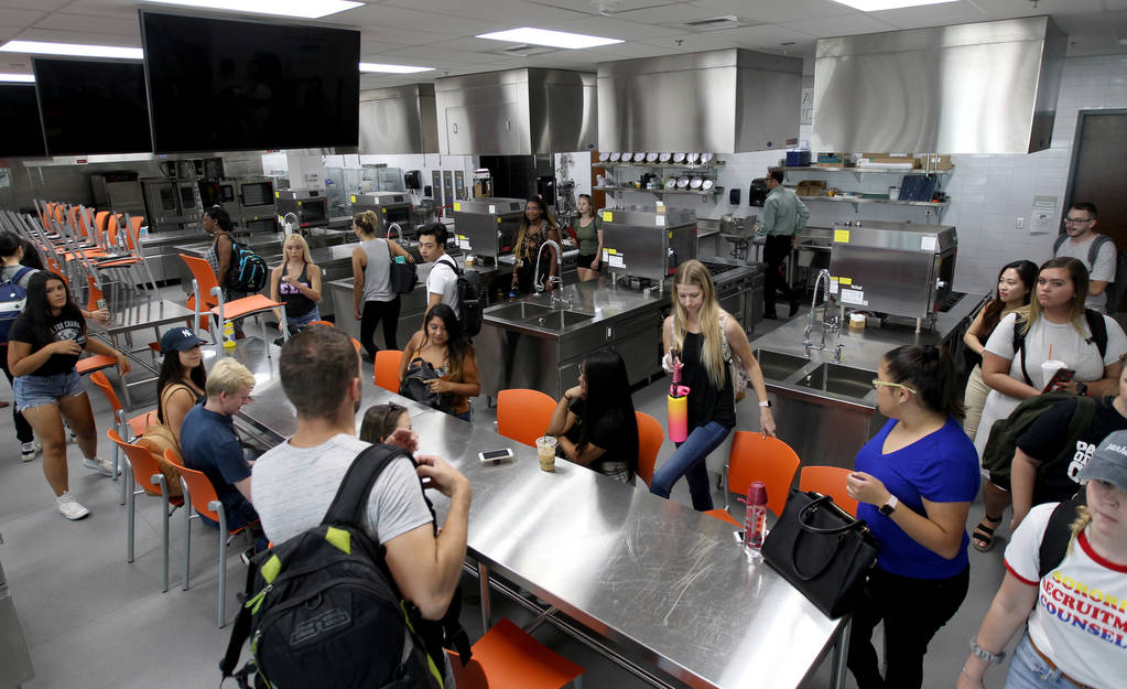 Students file in for Special Events Management class in the Marriott Executive Kitchen in Hospitality Hall at UNLV Thursday, Aug. 30, 2018, taught by Assistant Professor Todd Uglow. K.M. Cannon La ...