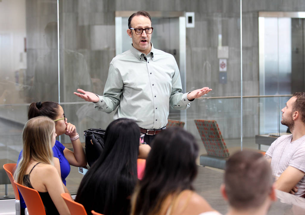 Todd Uglow teaches Special Events Management class in the Marriott Executive Kitchen in Hospitality Hall at UNLV Thursday, Aug. 30, 2018. K.M. Cannon Las Vegas Review-Journal @KMCannonPhoto