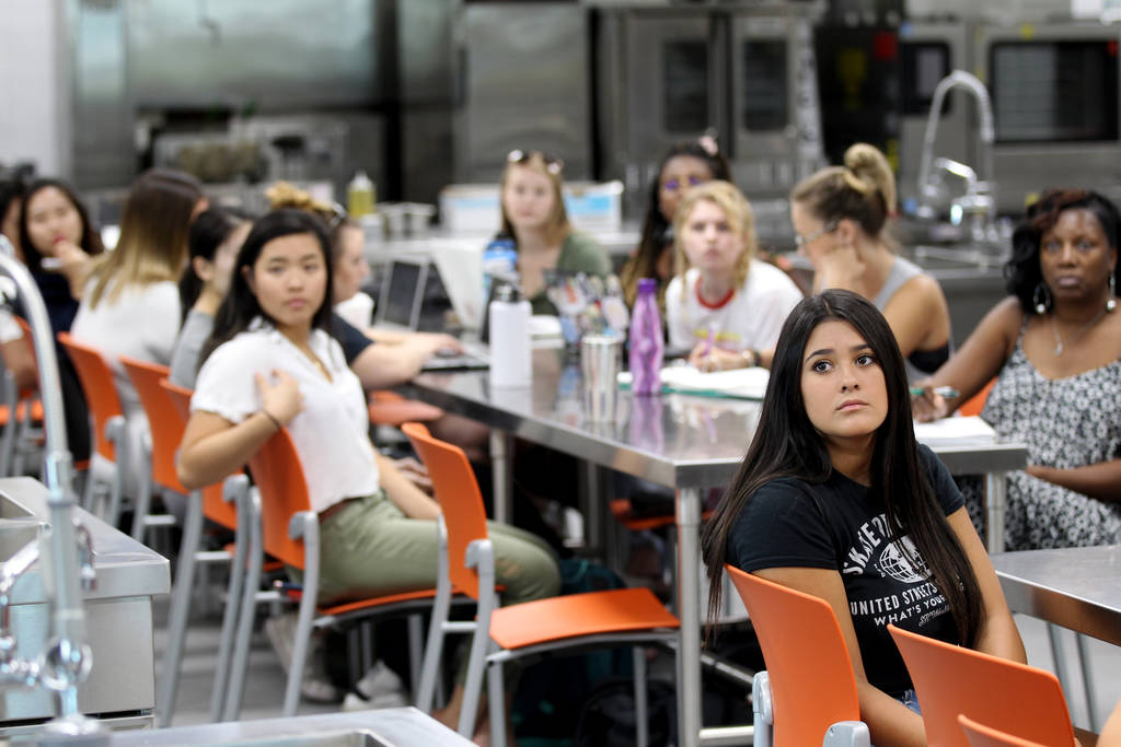 Students listen to Assistant Professor Todd Uglow in Special Events Management class in the Marriott Executive Kitchen in Hospitality Hall at UNLV Thursday, Aug. 30, 2018. K.M. Cannon Las Vegas Re ...
