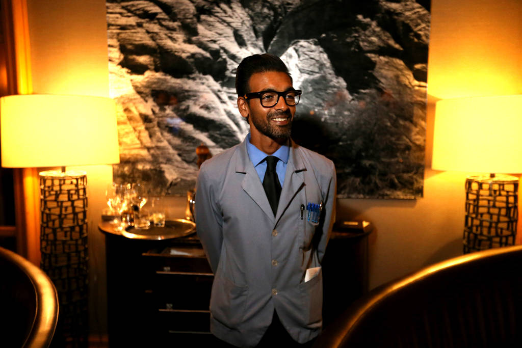 Captain server Yash Gokul keeps an eye on his tables at Charlie Palmer Steak at the Four Seasons in Las Vegas Tuesday, Aug. 28, 2018. K.M. Cannon Las Vegas Review-Journal @KMCannonPhoto