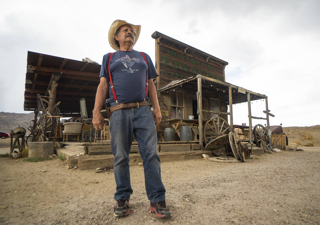 Walt Kremin poses in front of his saloon at Gold Point, Tuesday, Sept. 4, 2018. After a decades long property dispute, the Bureau of Land Management has announced plans to transfer ownership of th ...