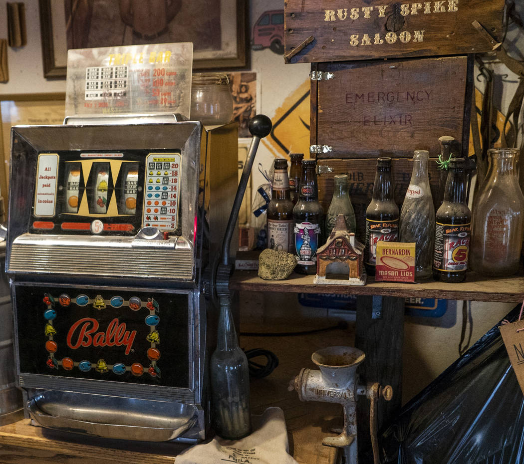 An antique slot machine photographed in Walt Kremin's saloon at Gold Point, Tuesday, Sept. 4, 2018. After a decades long property dispute, the Bureau of Land Management has announced plans to tran ...