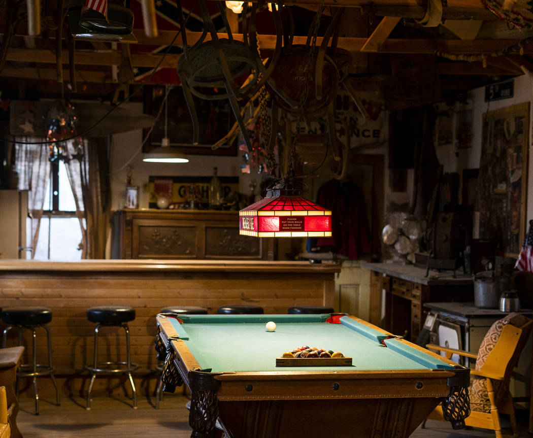 A pool table photographed in Walt Kremin's saloon at Gold Point, Tuesday, Sept. 4, 2018. After a decades long property dispute, the Bureau of Land Management has announced plans to transfer owners ...