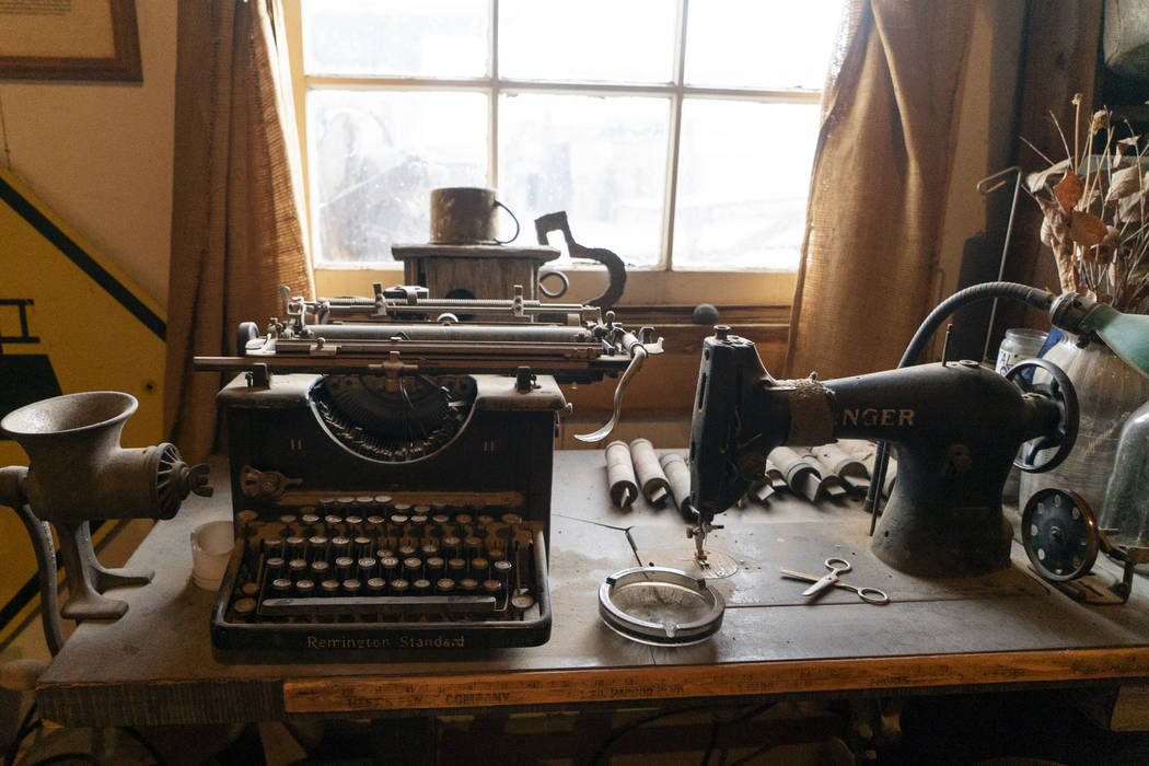 A typewriter and sewing machine photographed in Walt Kremin's saloon at Gold Point, Tuesday, Sept. 4, 2018. After a decades long property dispute, the Bureau of Land Management has announced plans ...