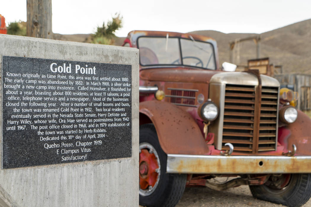The Gold Point welcome sign photographed in Gold Point, Tuesday, Sept. 4, 2018. After a decades long property dispute, the Bureau of Land Management has announced plans to transfer ownership of th ...
