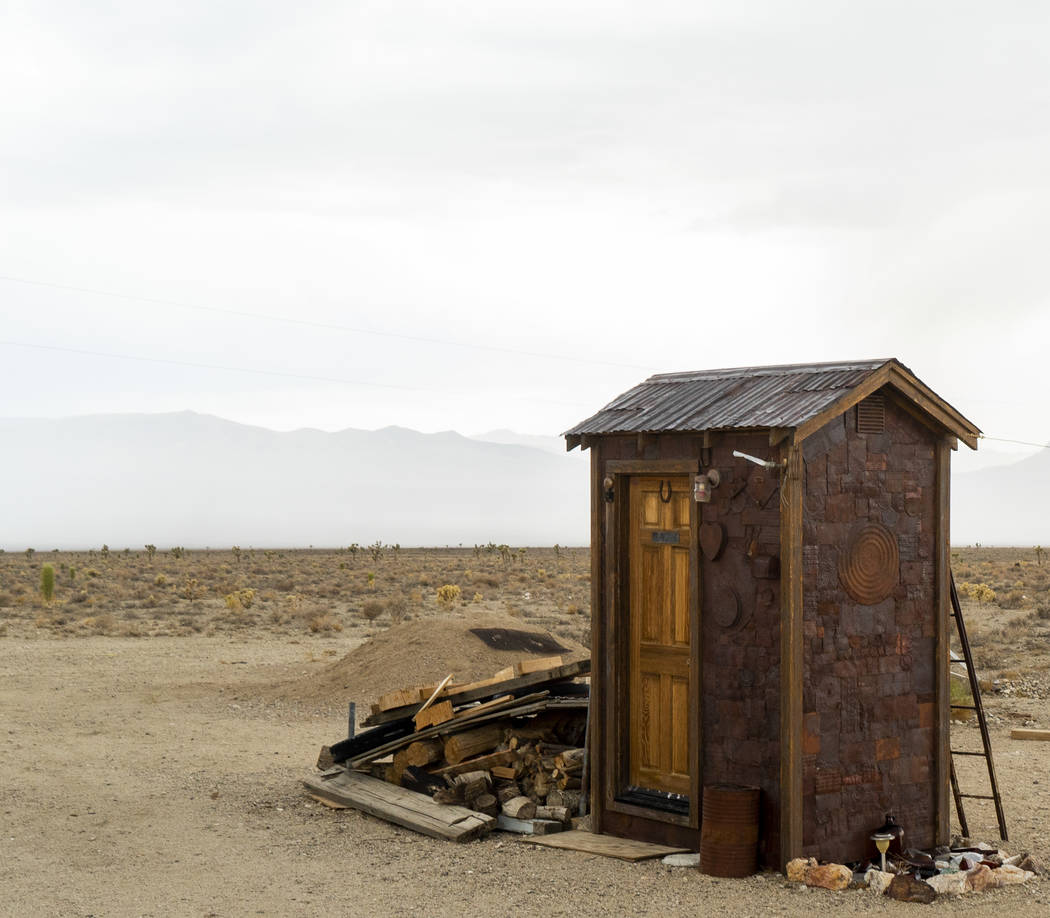 An outhouse photographed in Gold Point, Tuesday, Sept. 4, 2018. After a decades long property dispute, the Bureau of Land Management has announced plans to transfer ownership of the town site to E ...