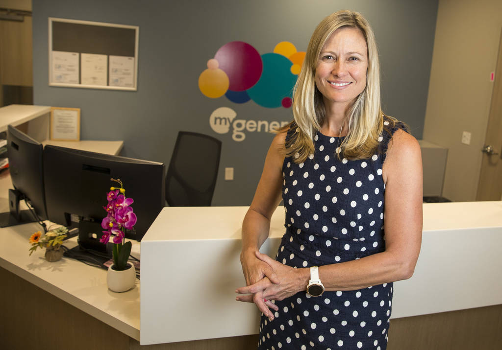 Dr. Leslie Keck, internal medicine specialist for HealthCare Partners Nevada, poses in the lobby at myGeneration, a senior-focused health clinic for people on Medicare, at the clinics' office loca ...