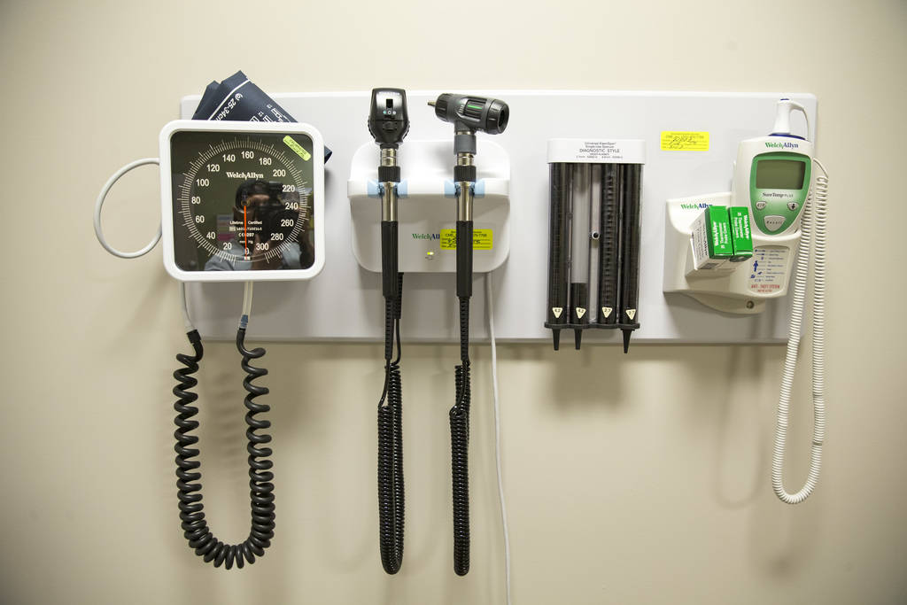 Medical instruments hang in an examination room at myGeneration, a senior-focused health clinic for people on Medicare, at the clinics' office located at 2650 North Tenaya Way in Las Vegas on Mond ...