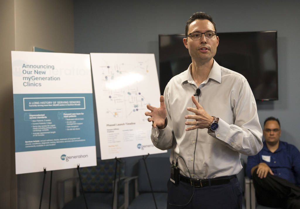 Mark Price, market president for HealthCare Partners Nevada, speaks during the launch of myGeneration, a senior-focused health clinic for people on Medicare, at the clinics' office located at 2650 ...