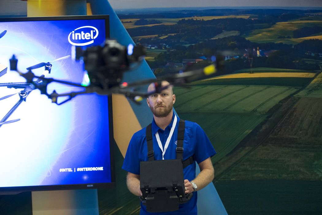 Pilot Andrew Georgopoulos gives a demonstration of the Intel Falcon 8+ drone during the InterDrone conference at the Rio Convention Center in Las Vegas, Wednesday, Sept. 6, 2017. Erik Verduzco/Las ...