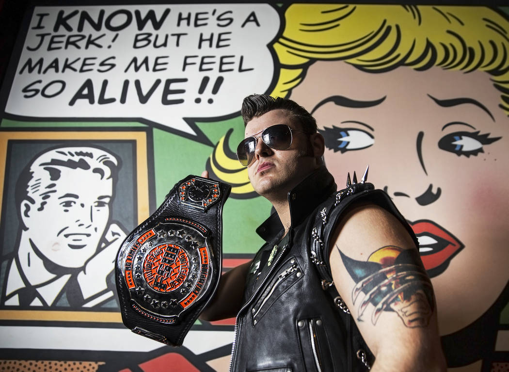 "Greg Romero, aka ""The Bridge Burner,"" at a Versus Wrestling event on Friday, Aug., 3, 2018, at Neonopolis, in Las Vegas. Benjamin Hager Las Vegas Review-Journal @benjaminhphoto"