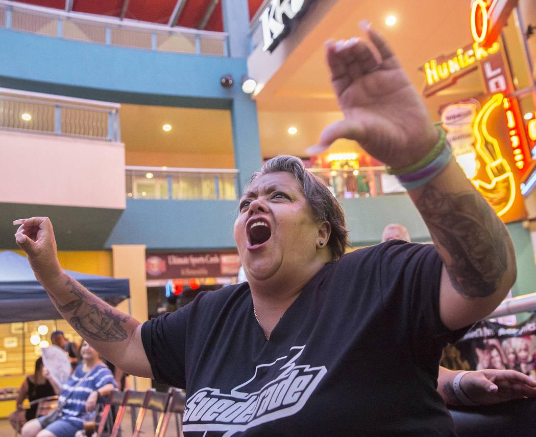 "Ofelia Rodriguez screams as Tyler Seifert, aka ""Tyler J. Wildhorse"" enters the ring during a Versus Wrestling event on Friday, Aug., 3, 2018, at Neonopolis, in Las Vegas. Benjamin Hager ..."