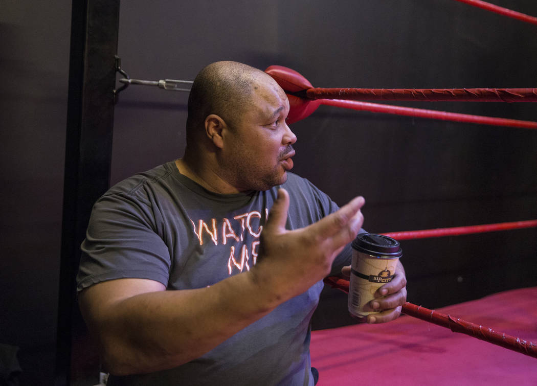 Former pro wrestler D. Lo Brown gives instruction to students at The Snake Pit Pro Wrestling Academy on Tuesday, March 6, 2018, in Las Vegas. Benjamin Hager Las Vegas Review-Journal @benjaminhphoto