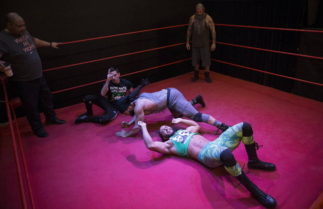 The Kings Ransom tag team practices at The Snake Pit Pro Wrestling Academy on Tuesday, March 6, 2018, in Las Vegas. Benjamin Hager Las Vegas Review-Journal @benjaminhphoto