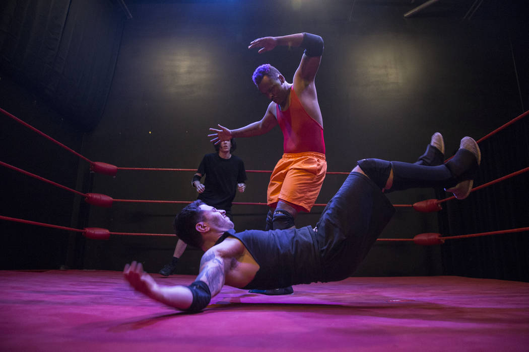 Da Shade, top, practices with Armando Ray Lopez at The Snake Pit Pro Wrestling Academy on Tuesday, March 6, 2018, in Las Vegas. Benjamin Hager Las Vegas Review-Journal @benjaminhphoto