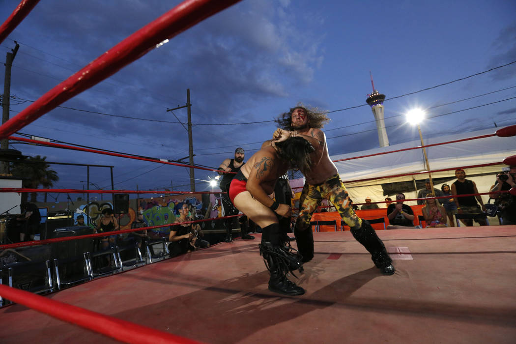 Wild Horse, left, fights with Gorgeous Gary Galaxy during a Versus Pro Wrestling event at 1429 S. Commerce St. in Las Vegas, Friday, July 6, 2018. Chitose Suzuki Las Vegas Review-Journal @chitosephoto