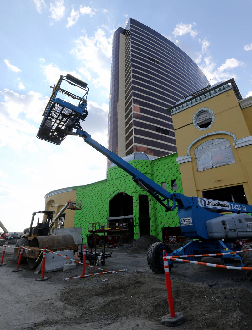 The Central Utility Plant rear podium at Encore Boston Harbor in Everett, Mass. Friday, Aug. 24, 2018. The resort, scheduled to open June 2019, will have 671 rooms including 104 suites. K.M. Canno ...
