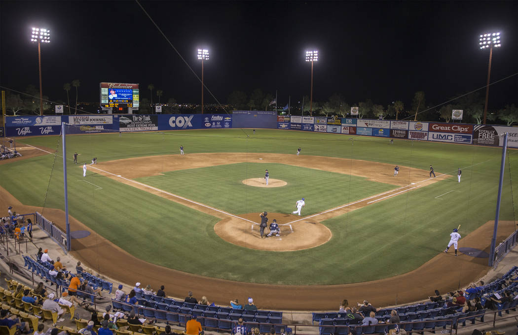 The 51s take on the Tacoma Rainiers on Tuesday, Aug. 28, 2018, at Cashman Field, in Las Vegas. Benjamin Hager Las Vegas Review-Journal @benjaminhphoto