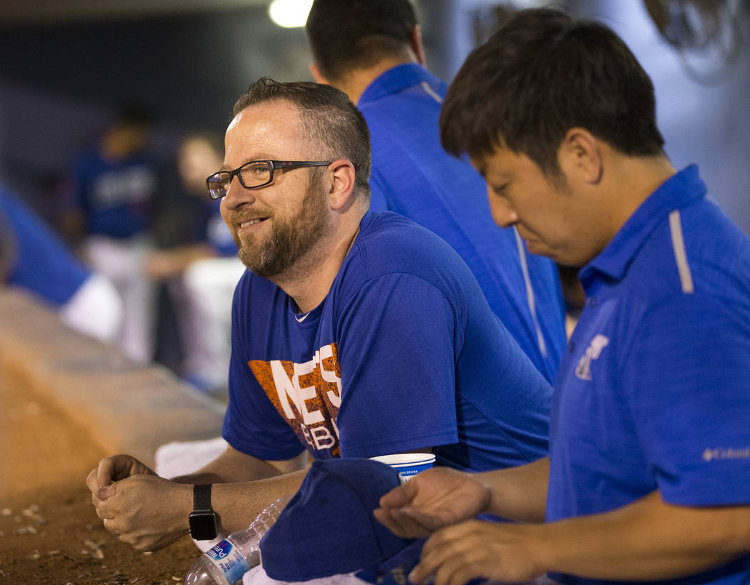 51's clubhouse manager Steve Dwyer looks on from the dugout during baseball game at Cashman Field in Las Vegas on Thursday, Aug. 23, 2018. Richard Brian Las Vegas Review-Journal @vegasphotograph