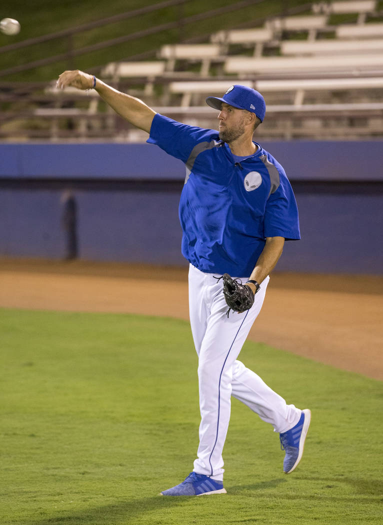 51's bullpen coach Jeremy Accardo throws a ball in-between innings during baseball game at Cashman Field in Las Vegas on Thursday, Aug. 23, 2018. Richard Brian Las Vegas Review-Journal @vegasphoto ...