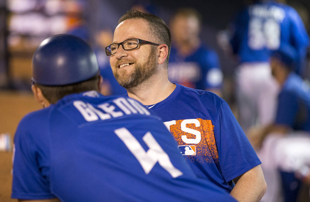 51's clubhouse manager Steve Dwyer, right, looks on from the dugout during baseball game at Cashman Field in Las Vegas on Thursday, Aug. 23, 2018. Richard Brian Las Vegas Review-Journal @vegasphot ...