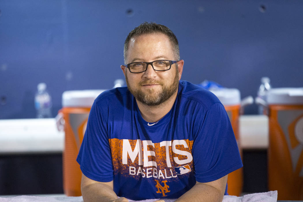 51's clubhouse manager Steve Dwyer poses in the dugout during baseball game at Cashman Field in Las Vegas on Thursday, Aug. 23, 2018. Richard Brian Las Vegas Review-Journal @vegasphotograph