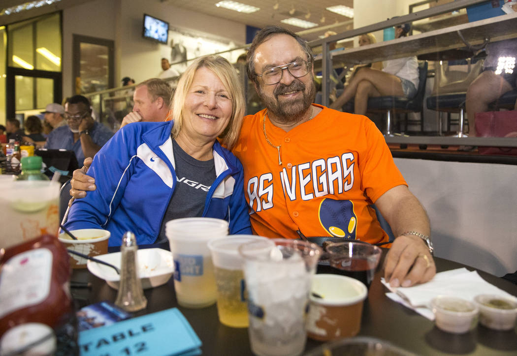 Las Vegas residents and 51's fans Bobbie and John Muije enjoy a baseball game at Cashman Field in Las Vegas on Thursday, Aug. 23, 2018. Richard Brian Las Vegas Review-Journal @vegasphotograph