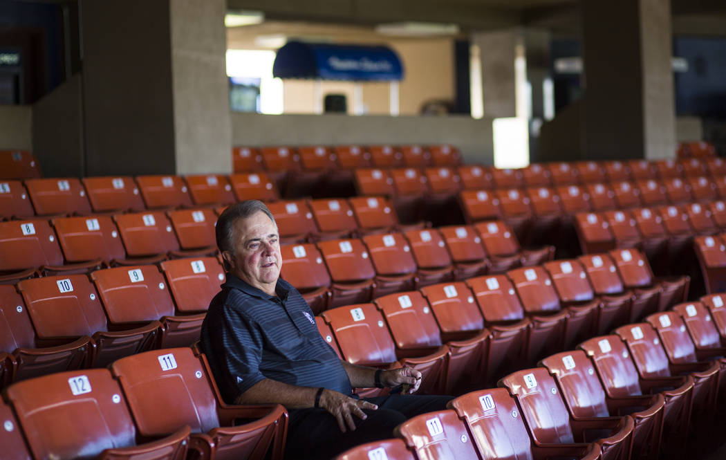 Don Logan, president and chief operating officer of the Las Vegas 51s, sits in the stands at Cashman Field ahead of the team's move to Summerlin in Las Vegas on Wednesday, Aug. 29, 2018. Chase Ste ...