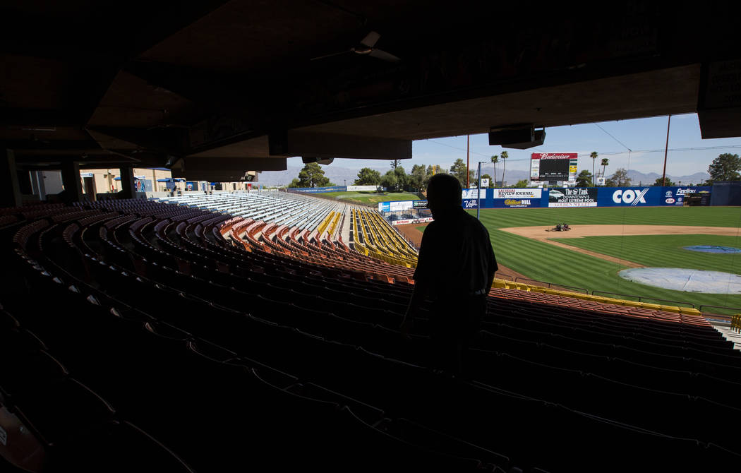 Don Logan, president and chief operating officer of the Las Vegas 51s, walks the club level while touring Cashman Field ahead of the team's move to Summerlin in Las Vegas on Wednesday, Aug. 29, 20 ...