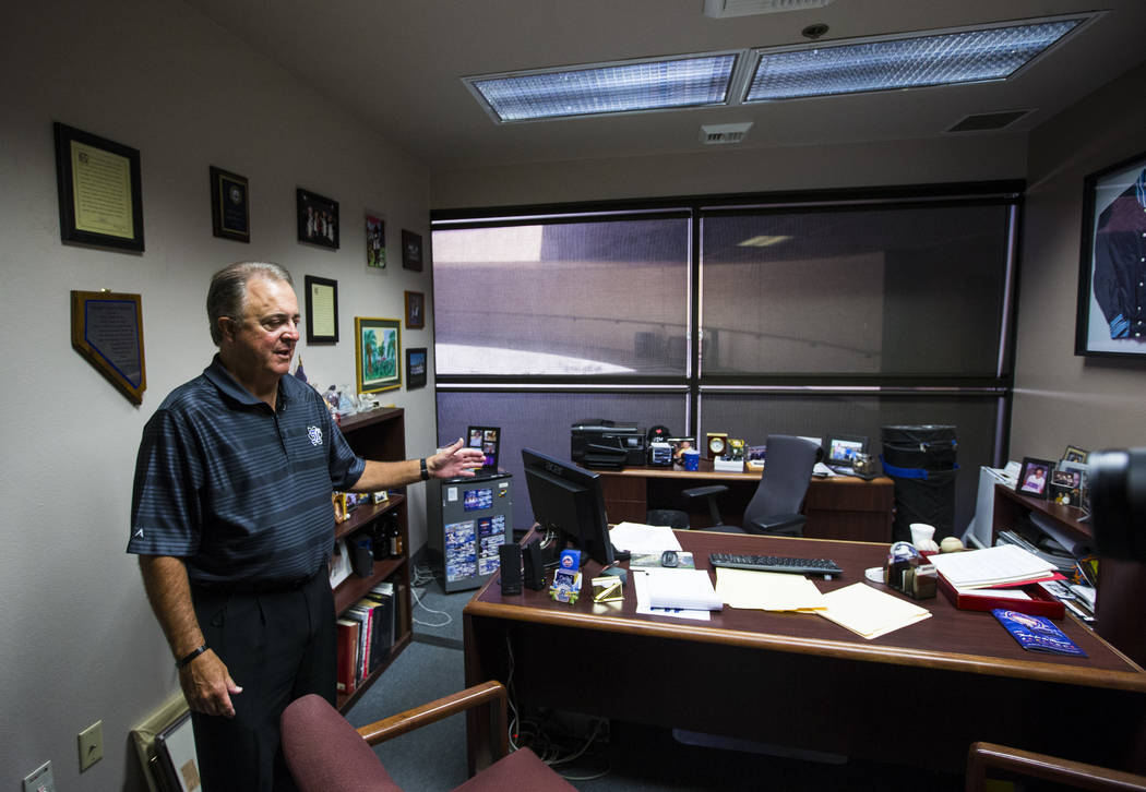 Don Logan, president and chief operating officer of the Las Vegas 51s, in his office at Cashman Field ahead of the team's move to Summerlin in Las Vegas on Wednesday, Aug. 29, 2018. Chase Stevens ...